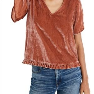 madewell rust colored crushed velvet v neck top